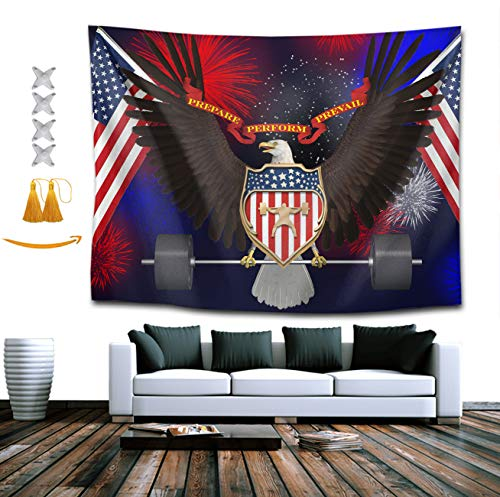 Gifts Lion Gorgeous Mountain (TERPASTRY Tapestry Wall Hanging Bald Eagle Barbell American Flag USA Patriotic Tapestry Home Decor Wall Tapestry for Kids Girls Boys Room Bedroom Living Room Dorm 50x60 Inch)