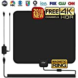 80 sharp 4k - HD TV ANTENNA INDOOR, YRH Updated 2018 Newest Digital 4K/1080P HDTV Antennas With Magnetic Ring To Lock Signal and Amplifier Booster For Smart TV, Free View More High-Definition channels (Black)