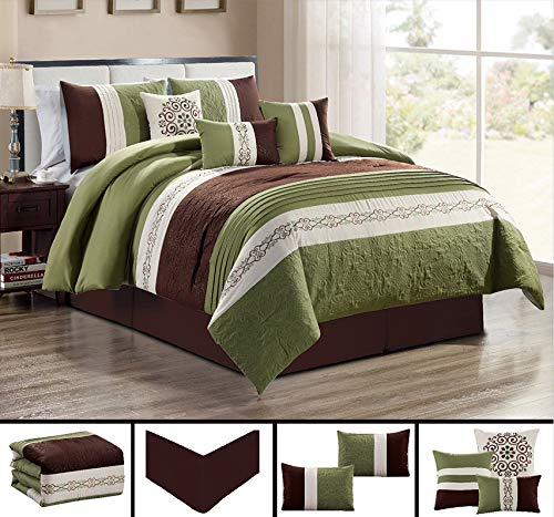 GrandLinen 7 Piece SAGE Green/Beige/Brown Paisley Embroidered Bed in a Bag Luxury Comforter Set King Size Bedding ()