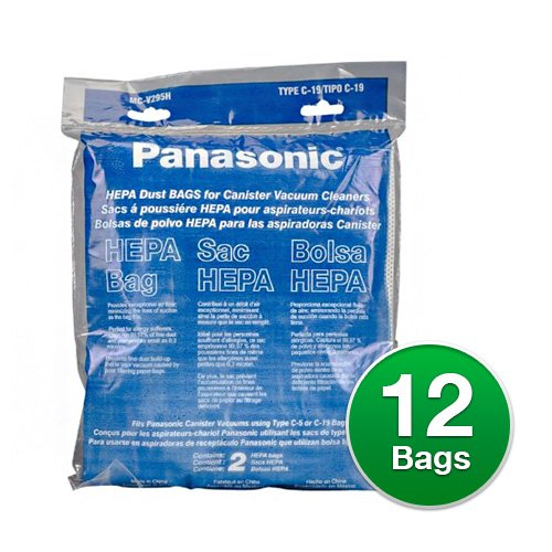 Panasonic MC-V295H HEPA DUST BAG, TYPE C-19, Pack of 12
