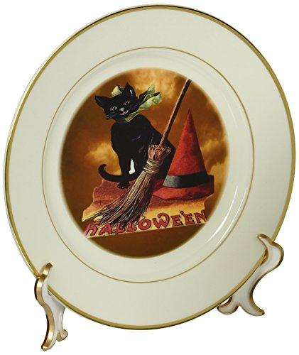 (3dRose cp_6190_1 Vintage Halloween Black Cat Porcelain Plate,)