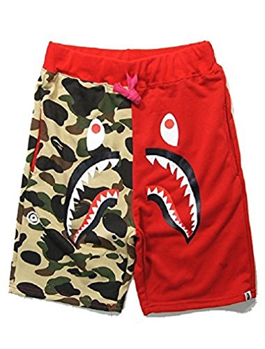 Shark Pattern Camouflage Stitching Men's Drawstring Sport Shorts, Red, XXL from Athletic Pants