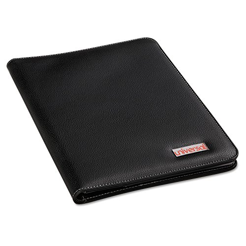 Universal Products - Universal - Leather-Look Pad Folio, Inside Flap Pocket w/Card Holder, Black - Sold As 1 Each - Convenient inside front pocket with card holder for carrying printed materials and business cards. - Unique elastic mesh pocket perfect for storing thumb drives. -