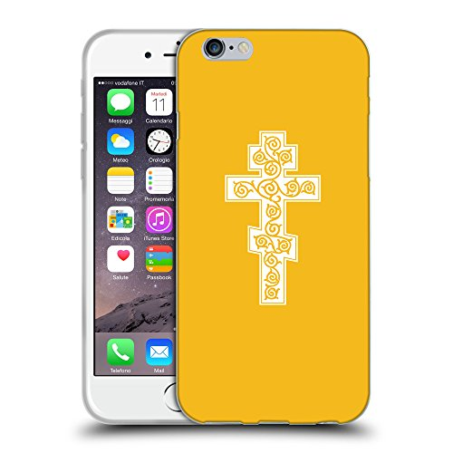 """GoGoMobile Coque de Protection TPU Silicone Case pour // Q09340602 Croix chrétienne 44 ambre // Apple iPhone 6 4.7"""""""