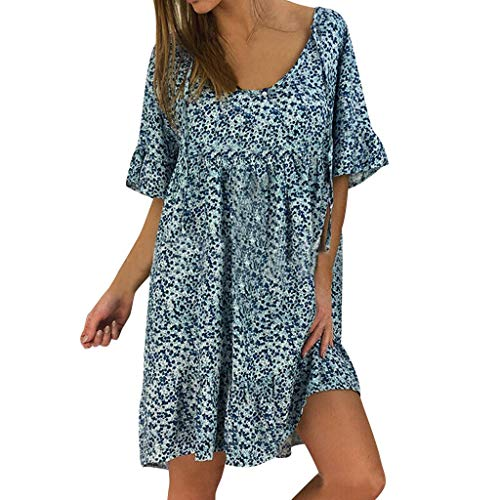 Aniywn Women Ladies Round Neck Ruffle Short Sleeve Print Chiffon Loose Dress Plus Size Boho Mini Dress Blue