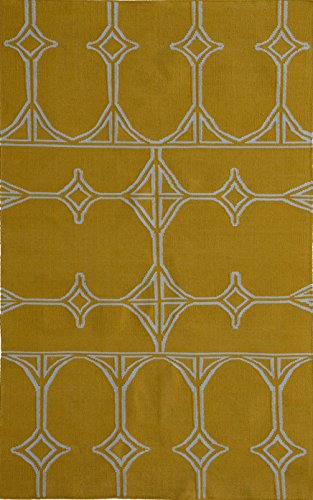 MEVA Thai Indoor/Outdoor Flat Weave Area Rug, 8-Feet by 11-Feet, Yellow by Meva
