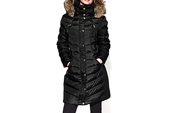 1448ab99b1a9 Amazon.com  MICHAEL Michael Kors Womens 3 4 Faux Fur Hood Snap  Clothing