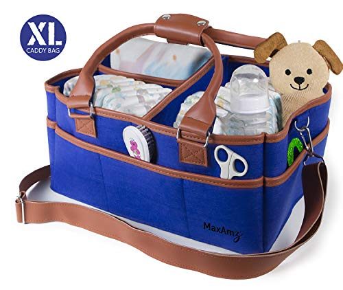 Classy Caddy Baby Diaper Caddy Organizer with Shoulder Strap – Extra Large Navy Blue Portable Storage Bag – For All Diapering and Nursery Essentials – Perfect Newborn Shower Gift for Boy or Girl