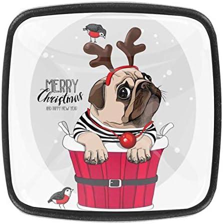 Keukenkast KnoppenPug Hond in een Santas HertenKnoppen voor dressoirladen voor kast kast badkamer of kantoorPack van 4