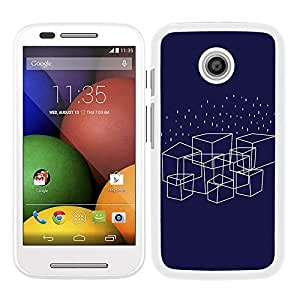 Funda carcasa para Motorola E diseño cuadrados fondo azul borde blanco