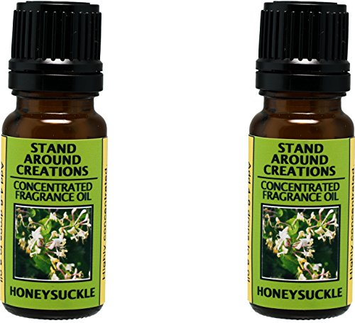 Set of 2 - Concentrated Fragrance Oil - Scent - Honeysuckle : A strong floral bouquet, hints of pear w/ a sweet cotton candy note. Infused w/essential oil. (.33 fl.oz.) Scented Decorative Bouquet Diffuser