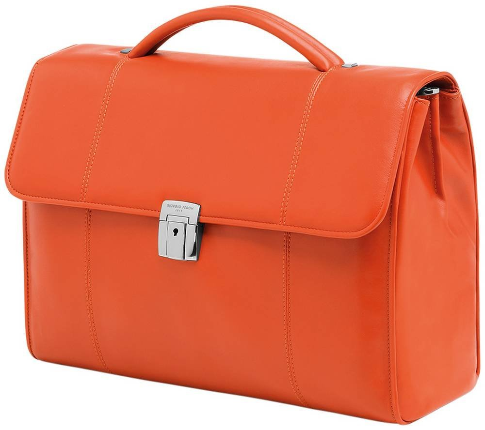 Orange British 2 Leather Business Flap Case by Giorgio Fedon 1919