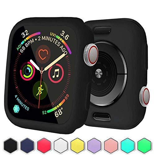BOTOMALL for Apple Watch Case Screen Protector 38mm 42mm 40mm 44mm Premium Soft Flexible TPU Thin Lightweight Protective Bumper Cover for Smartwatch Series 4 Series 3 2(Black,38MM Series 3/2)