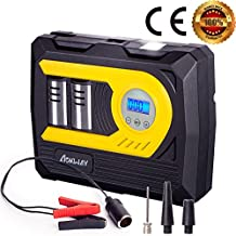 aokway Car Air Compressor, with Digital Gauge Double Cylinder NEW 2018 MODEL Heavy Duty Portable Auto Tire Inflator Pump 12V DC to 100 PSI Led Lights