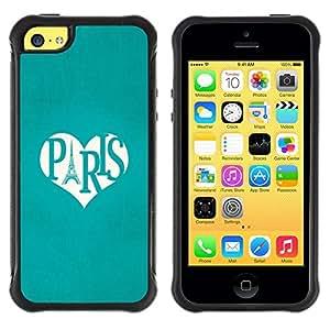LASTONE PHONE CASE / Suave Silicona Caso Carcasa de Caucho Funda para Apple Iphone 5C / Eifel Tower Love Heart Travel France