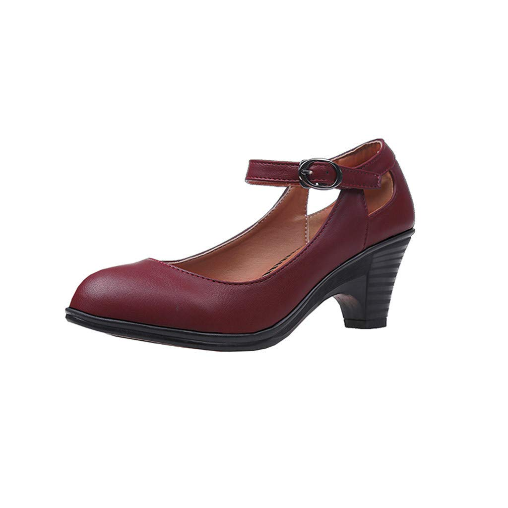 Women Character Shoes,Dacawin Ladies Fashion Comfy Round Toe Square Heel Buckle Dance/Professional Single Shoes (Wine, 6.5 M US)