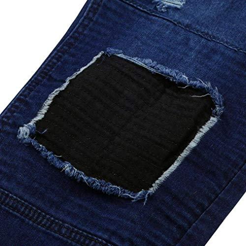 Semplice Da Slim Effetto Lunghi In Denim Alla Pantaloni Strappato Uomo Stile Retro Fray Used Skinny Moda Dunkelblau Cerniera Jeans Con xCBd0wx