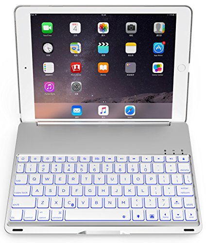 iPad Pro 9.7 keyboard case/iPad Air 2 Keyboard Bluetooth Protective Folio Keyboard Cover with Auto Sleep Wake 7 Colors Backlit Aluminum 500mAh Battery for iPad Pro 9.7 iPad Air 2 (Silver) (Case Aluminum Protective)