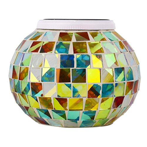 Ikevan Solar night light LED light Table Lamps for Decor Rainbow Color Changing Sunshine Jar (B) by Ikevan