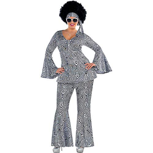 Suit Yourself Dancing Queen Disco Costume for Adults, Plus Size, Includes a Matching Top, Flare Pants, and a Headscarf ()