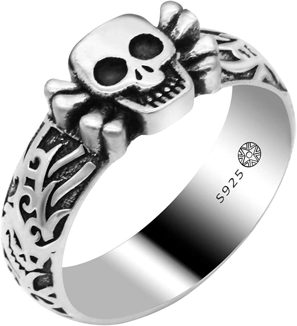 Metalmadman 925 Sterling Silver Skull Rings For Men Women Unisex Crossbones Vintage Engagement Ring Wedding Bands Skin Friendly Non Allergic And Comfortable Gothic Punk Biker Cool Ring Band 10 Amazon Com