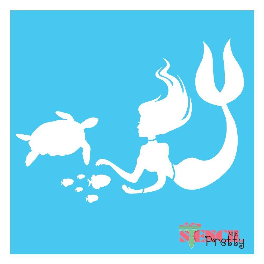 "L Playful Mermaid and Sea Turtle Ocean Stencil 15.5/"" x 11/"""