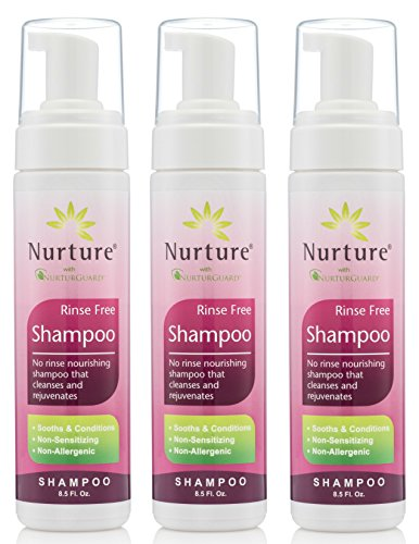 (No Rinse Shampoo by Nurture | Rinse Free Shower Cap Alternative - Foaming Pump Bottle - Waterless Nourishing Foam Shampoo That Cleanses and Rejuvenates - 3 Bottles - 8.5 fl oz Each)