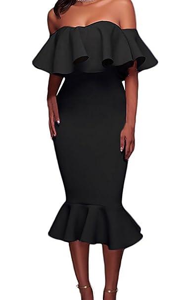 Vestidos De Noche Mujer Fashion Fiesta Vestidos Sirena Bonita Sin Tirantes Sencillos Especial Barco Cuello con