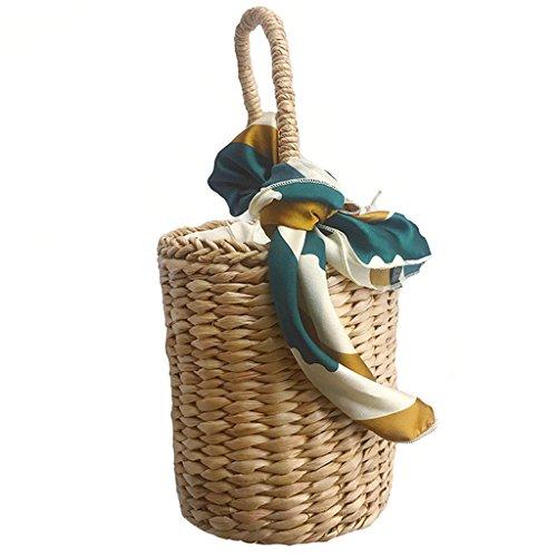- Womens Casual Straw Woven Basket Handbag Bucket Bag Summer Beach Bag Mixed Color