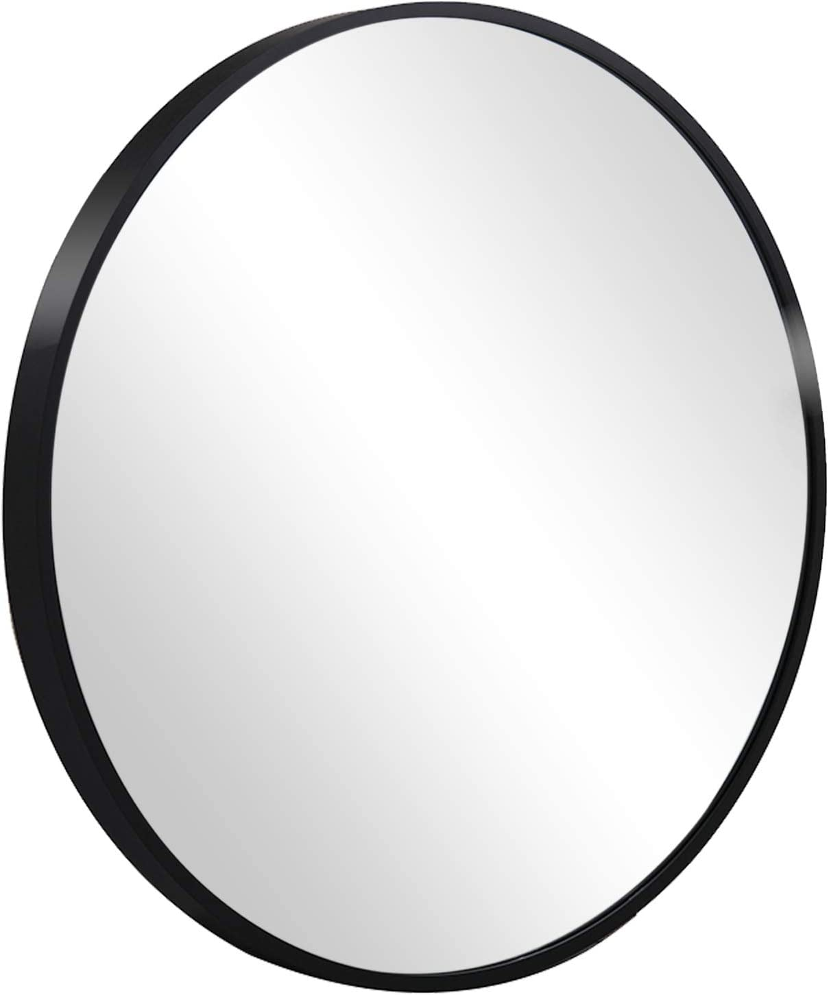 OTTATO Round Mirror Wall Decor Round Black Mirror with Metal Frame, 24 Inch Circle Mirror Wall Mirror for Bathroom, Living Room, Dining Room&Entry