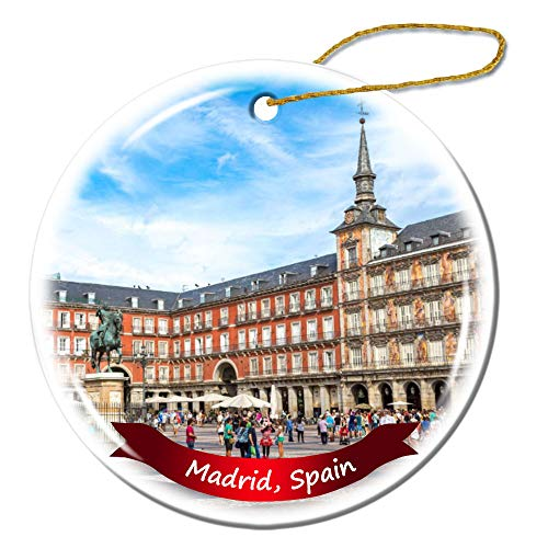 Fhdang Decor Madrid Spain Christmas Ornament Porcelain Double-Sided Ceramic Ornament,3 ()
