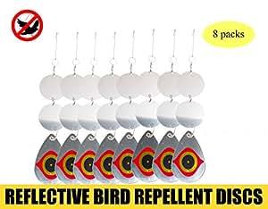8pcs Disco Répulsifs de pájaros Gardez les pájaros a la distancia al doble cara