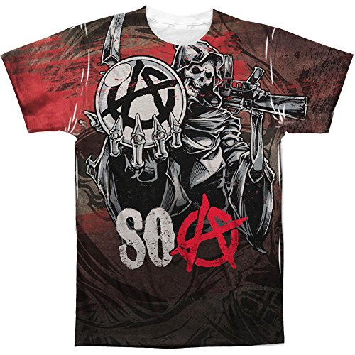 Sons of Anarchy Reaper Ball Polyester Crew Front Print Adult T-Shirt Tee