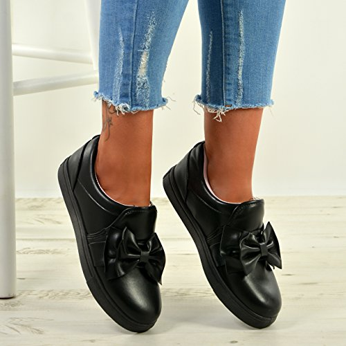New Womens Bow Slip On Sneakers Ladies PU Trainers Plimsoll Shoes Size UK 3-8 Black NoFHh8TYAc