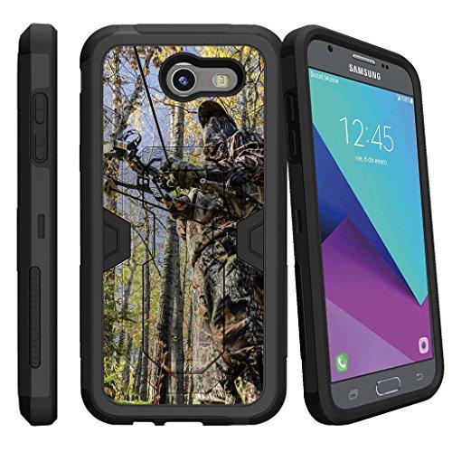 MINITURTLE Case Compatible w/Case for [Samsung Galaxy J3 Emerge | J3 Prime | J3 Eclipse | Galaxy Luna Pro] [MAX Defense] Hybrid Clip Armor Rugged Case w/Stand Camoflauge Hunting