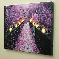 BANBERRY DESIGNS Wooden Bridge and Tree Scene - Pu