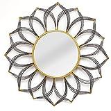 Barranda Black and Gold Floral Metal Wall Mirror