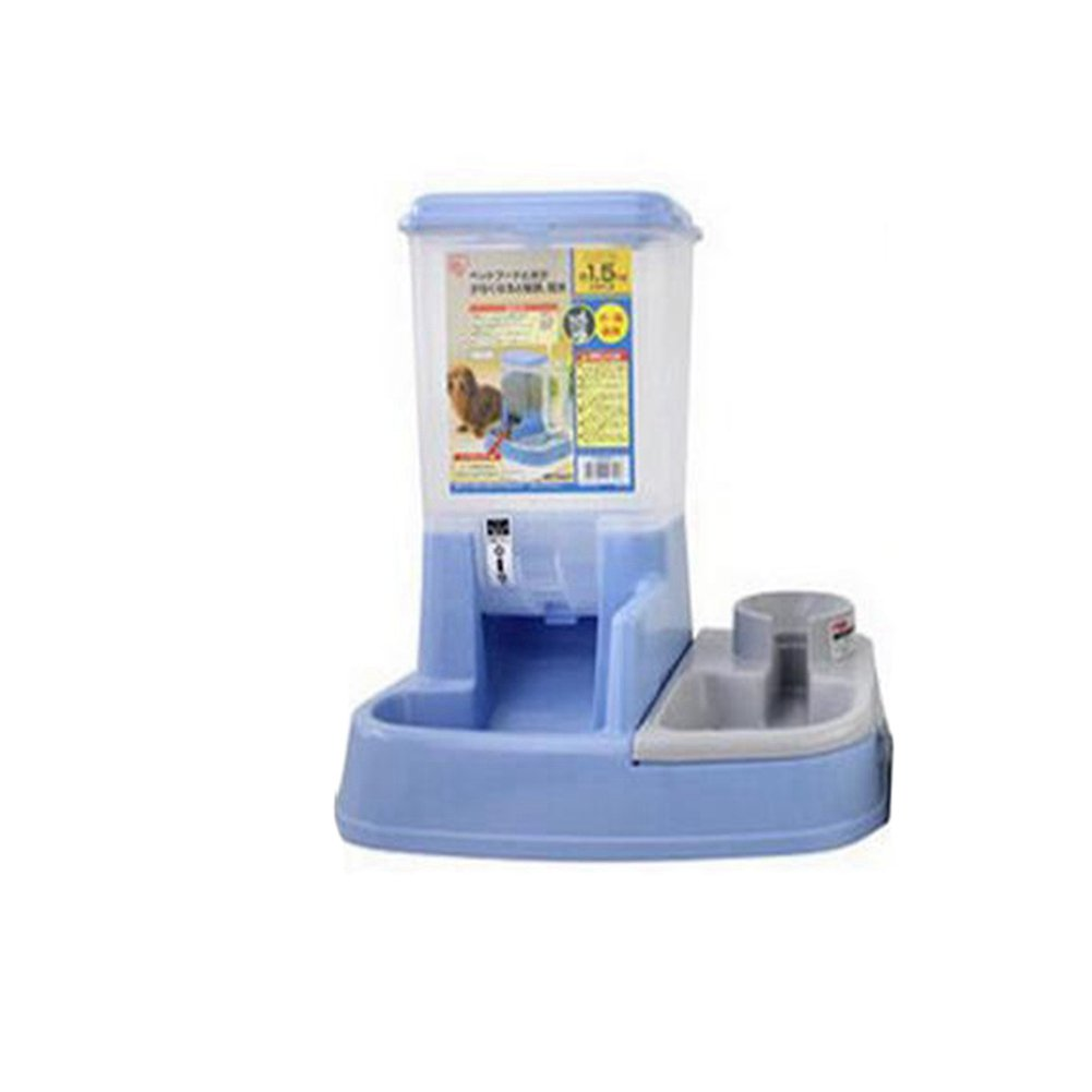 WW Pet Feeder Waterer Automatic 2 In 1 Food Water Bowl For Cats And Dogs,Blue by CW&T (Image #1)