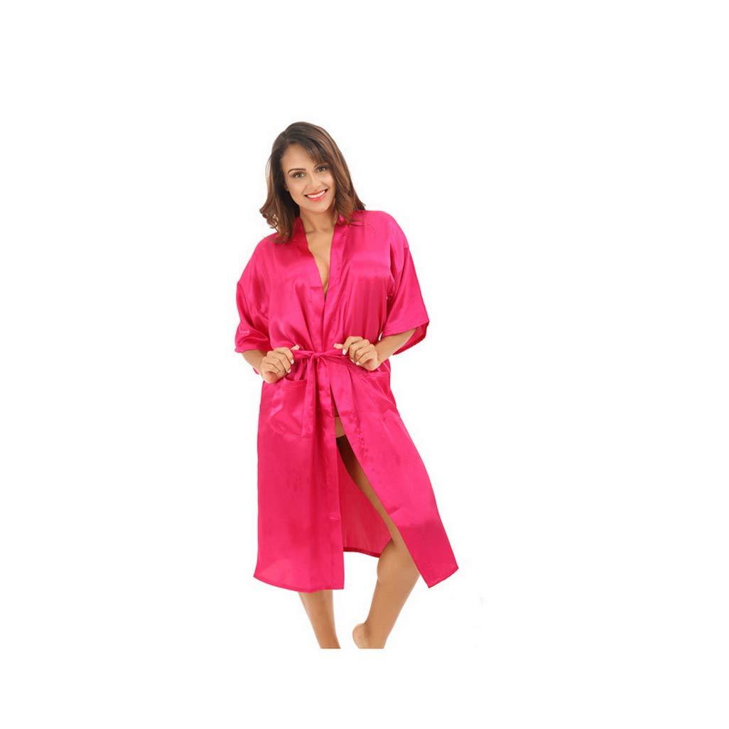 Silk Robe Kimono, Bride Gown Robe Solid Kimono Robes Faux ...