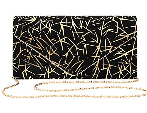 Shiny Bag Purse Wedding Velvet Shoulder Evening Womens Lines for Handbag Gold Prom Envelop Gabrine Clutch Party 4qIzgx