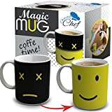 Chuzy Chef Heat Color Changing Mug Gift - 12 Oz Heat Sensitive Color and Smiley Face Morning Changing Drinkware Ceramic Coffee Tea Cup Black - Gift for Mom Friends Women & Men