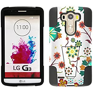 LG G3 Hybrid Case Colorful SunFlowers on White 2 Piece Style Silicone Case Cover with Stand for LG G3