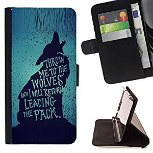 BullDog Case - FOR/HTC One M8 / - / wolf lead the pack brave heroic text /- Monedero de cuero de la PU Llevar cubierta de la caja con el ID Credit Card Slots Flip funda de cuer