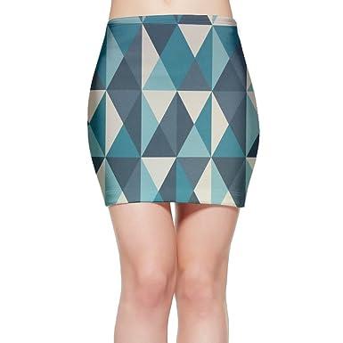 LULULUON Womens Geometric Blue Graphic Stitching Pretty Pattern Sexy Tight Hip Mini Skirts
