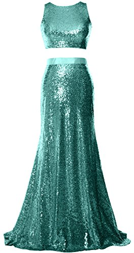 MACloth Mermaid 2 Piece Prom Dress Crop Top Sequin Formal Party ...
