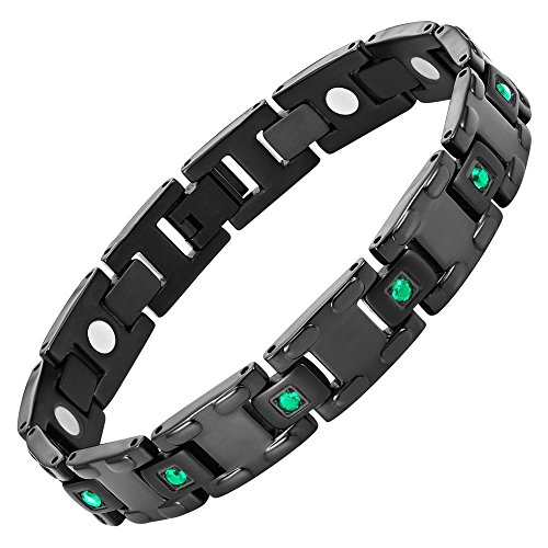 Green CZ Black Titanium Magnetic Bracelet Size Adjusting Tool and Gift Box Included By Willis Judd