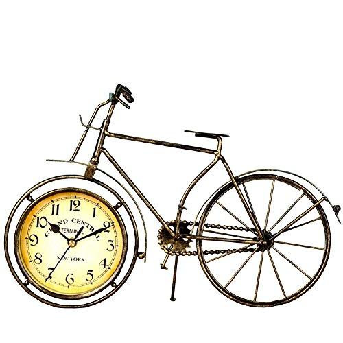 NEOTEND Handmade Vintage Metal Bicycle Clock Bike Mute Table -