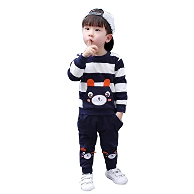 Toddler Baby Girl Boy Autumn Winter Kids Clothes Striped Bear Tops+Pants Outfits