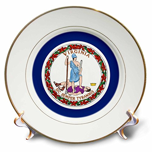 """3dRose cp_55347_1 State Flag of Virginia Porcelain Plate, 8"""""""