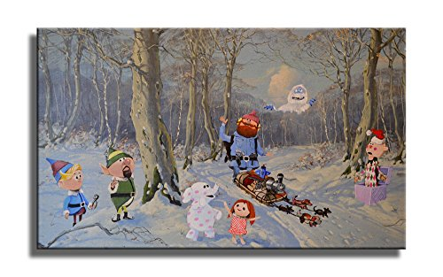 David Irvine Signed Authentic Official Pop Winter Friends Retro Rudolph Snowman Mashup Wrap Canvas Wall Art Décor at 18in by 30in CNVXDRV021